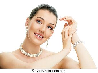 mulher, com, jóia