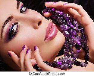 mulher, com, jóia, precioso