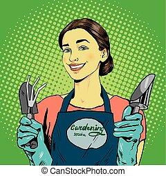 mulher, com, jardim, tools., vetorial, ilustração, em, retro, cômico, arte pnf, estilo