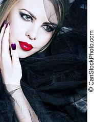 mulher, com, lábios vermelhos, em, pretas, véu