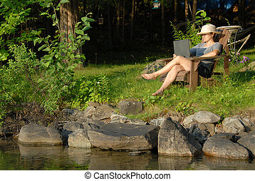 mulher, com, laptop