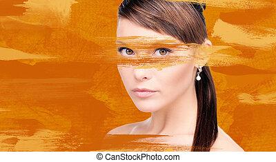 mulher, com, laranja, pintura