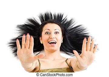 mulher, com, longo, cabelo preto