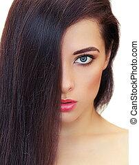 mulher, com, longo, cabelo preto, e, perfeitos, maquilagem, looking., closeup, retrato