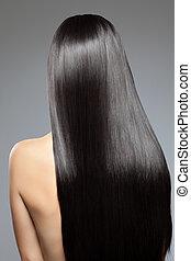 mulher, com, longo, direito, brilhante, cabelo