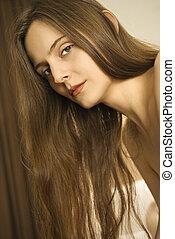 mulher, com, longo, hair.