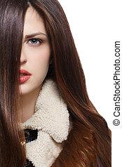 mulher, com, longo, marrom, cabelos