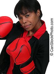 mulher, com, luvas boxing