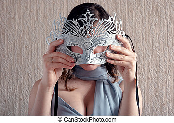 mulher, com, máscara