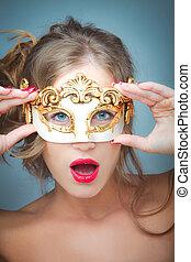 mulher, com, máscara veneziana
