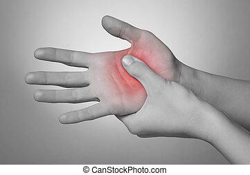 mulher, com, mão, dor