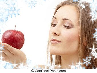 mulher, com, maçã