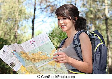 mulher, com, mapa