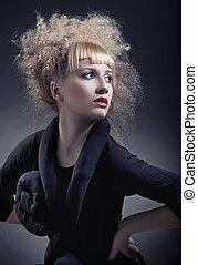 mulher, com, modernos, penteado