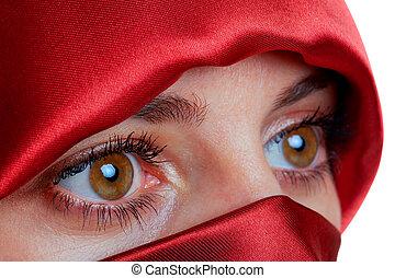 mulher, com, olhos marrons, e, vermelho, véu