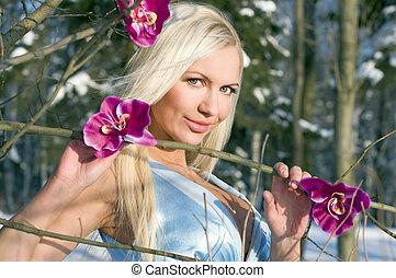 mulher, com, orquídea, em, a, inverno, floresta