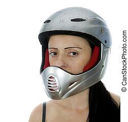 mulher, com, prata, motocross, capacete