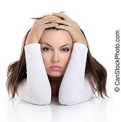 mulher, com, preocupado, expressão, rosto