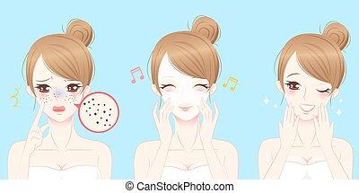 mulher, com, skincare, problema