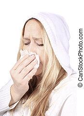 mulher, com, sniffles, ou, alergias