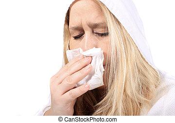 mulher, com, sniffles, ou, espirrando