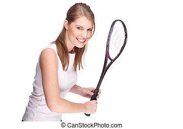 mulher, com, squash, raquete