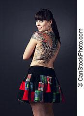 mulher, com, tatuagens