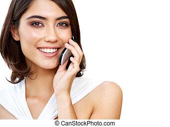 mulher, com, telefone
