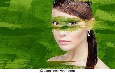 mulher, com, tinta verde