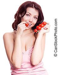 mulher, com, tomates