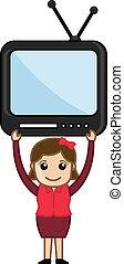 mulher, com, tv, -, vetorial, ilustração