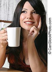 mulher, com, um, assalte café