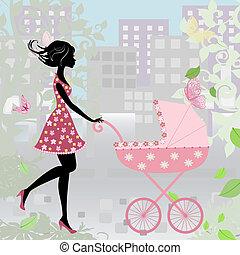 mulher, com, um, carrinho criança