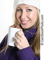 mulher, com, um, chocolate, bebida