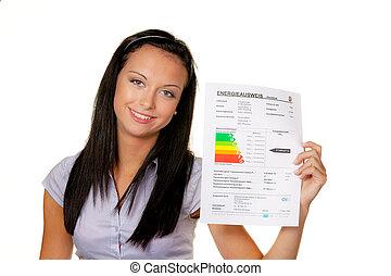 mulher, com, um, energia, desempenho, certificado