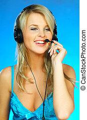 mulher, com, um, headset