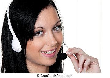 mulher, com, um, headset, em, a, cliente, service.,...