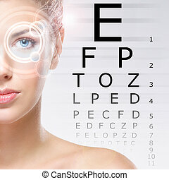 mulher, com, um, laser, ligado, dela, olhos, (ophthalmology,...