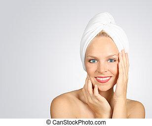mulher, com, um, toalha, ligado, cabelo