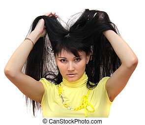 mulher, com, upped, cabelo