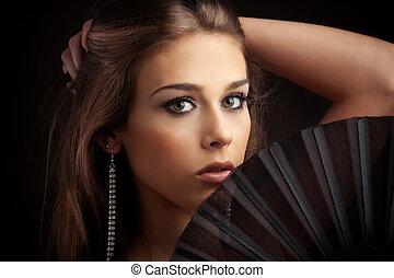 mulher, com, ventilador