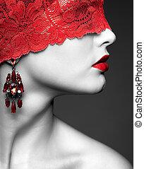 mulher, com, vermelho, lacy, fita, ligado, olhos