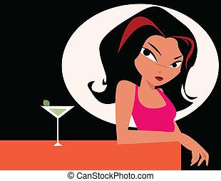 mulher, com, vidro, de, martini