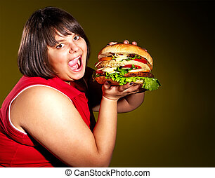 mulher, comer,  hamburger