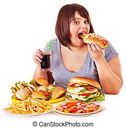 mulher, comer, rapidamente, alimento