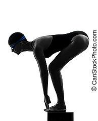 mulher, competion, nadador, ligado, começar, silueta