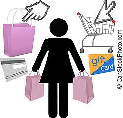 mulher, comprador, loja, compra, símbolo, ícones, jogo
