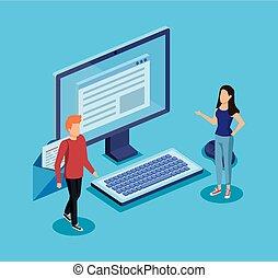 mulher, computador, digital, documento, tecnologia, homem