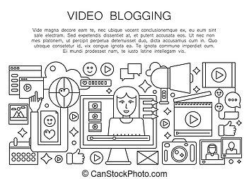 mulher, computador, esboço, pessoal, blogger, concept., blogger., transmissão, apoplexia, vetorial, vídeo, magra, femininas, tela, linha, blogging, canal, illustration.