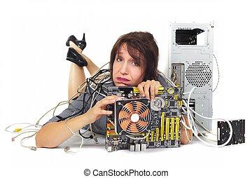 mulher computador, motherboard